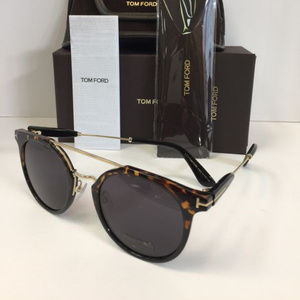 Tom Ford Tf480-d 53A Unisex Round Gold brown Sungl